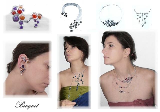 Portofolio 6 - Bouquet bijuterii handamde jewelry argint 925 sarma placata argint pietre semipretioase sterling silver plated wire semiprecious stones autor