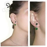 verde cercei jad agat argint cercei bijuterii vintage handmade jewelry silver wire earrings sarma argint 925
