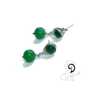 verde cercei jad agat bijuterii argint bijuterii vintage handmade jewelry silver wire earrings sarma argint 925
