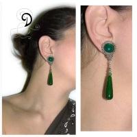 verde cercei jad agat cercei argint bijuterii argint bijuterii vintage handmade earrings sarma argint 925