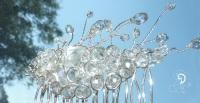 bijuterii mireasa mirese nunta handamade agrafa de par cristale boemia pieptene piaptan accesoriu coc picaturi sarma argintata filigran
