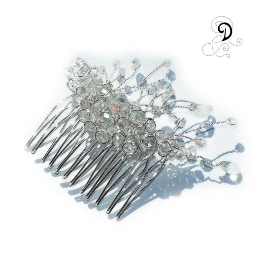 bijuterii mireasa nunta handamade agrafa de par cristale boemia pieptene piaptan accesoriu coc picaturi sarma argintata
