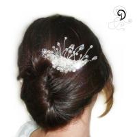 bijuterii mireasa nunta handamade agrafa de par cristale boemia pieptene piaptan accesoriu picaturi sarma argintata