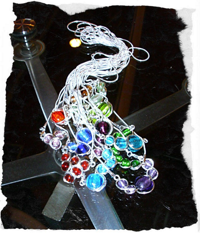 colier necklace bijuterii handmade jewelry sarma argintata silver plated wire sticla de Murano glass